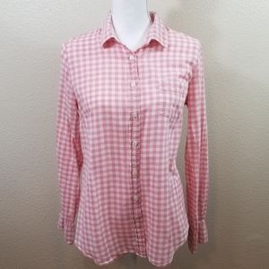 J. Crew Factory Pink White Gingham Shirt Size M